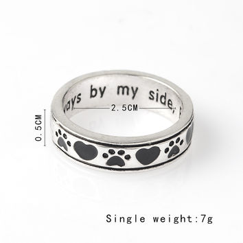 """Engraved """"Always by my side,Forever in my heart"""" Dog Pawprint Wrap Ring"""