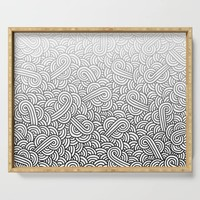 Gradient black and white swirls doodles Serving Tray by savousepate