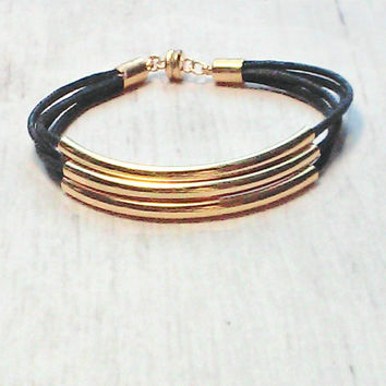 Gold Bracelet - Gold Tube Bracelet - Black Tube Bracelet - Womens Bracelet - Gold Bangle - Gold Bridesmaid Bracelet - Bridal Party Jewelry