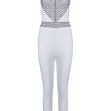 Honey Couture TASHA White Cut Out Studded Detail Jumpsuit