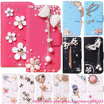 For TCL S530T Phone Case Pretty Rhinestone 3D Flower Leather Cover For Alcatel One Touch Idol Mini 6012 6012A 6012X 6012W