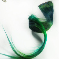 Green Human hair extension, hair extension, St Patricks Day // green clip in // blue hair // Tie Dye Colored Hair // GALAXY