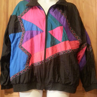 Vintage windsuit nylon  windbreaker colorblock 80s zip front jacket size XL