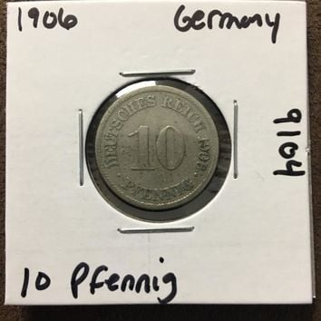 1906 German Empire 10 Pfennig Coin 9104