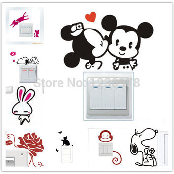 Removable Creative Funny Cat Dog Switch Art Vinyl Decal Home Decor Wall Window Stickers