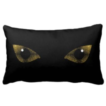 Reversible Yellow Gold sparkles Cat's Eyes Pillow