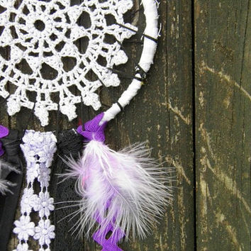 Dream Catcher gray purple black doily girls room teen room decor boho chic gift for her wall hanging