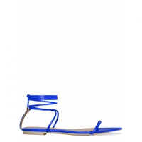 Justine Blue Pointed Toe Lace Up Sandals : Simmi Shoes