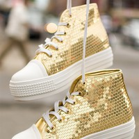Sequinned Sneakers with White Toe Cap - Gold from Glam at Lucky 21
