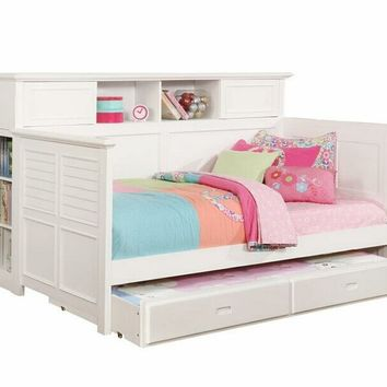 Bookcase daybed style white finish wood twin day bed with slide out trundle
