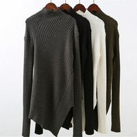 Autumn Winter Knit Slim Fit High Collar Neck Long Sleeve Sweatshirt a13321