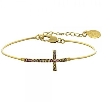 Gold Layered Individual Bangle, Cross Design, with Cubic Zirconia, Golden Tone