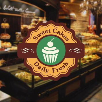 cik1129 Full Color Wall decal baked sweet cake sweet snack bakery cafe