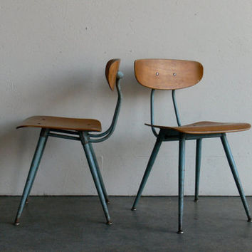 Vintage Industrial/Mid Century Modern Plywood School Chair-Set of 2 (Adult Sized)