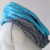 Bright Turquoise and Black Pashmina Infinity Scarf
