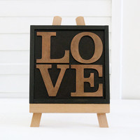 Wood Letter Collage LOVE, Letterpress Style, Rustic Home Decor