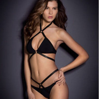 SIMPLE - Sexy Hot Black Strappy Hollow Bandage Women Two Piece Swimsuit Bathing Suit Bikini Set b5301