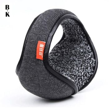 Winter Earmuffs Warm Wool Knitted Ear Warmer Foldable Faux Cashmere Ear Muff Ear Cover Bag Back Wear Earflap for Men Women