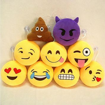 Party favors QQ Facial Emotions Pillow 6 inches Suction Cup Pendant Toy Gift Stuffed Plush Children Toys Yellow Round Cushion