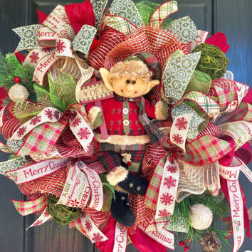 Christmas burlap wreath, Elf Burlap Christmas wreath, front door wreath, Woodlands Holiday wreath, Winter Woodlands wreath