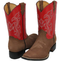 Atlanta Falcons Youth Pull Up Cowboy Boots - Brown/Red - http://www.shareasale.com/m-pr.cfm?merchantID=7124&userID=1042934&productID=520945957 / Atlanta Falcons