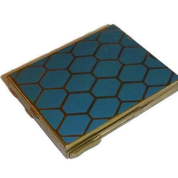 RARE 1920's Powder Compact by PIERRETTE, Teal Blue Vintage Art Deco Honeycomb Enamel Compact Vanity Case, Beauty Collectible Gift for Her