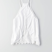 AEO Hi-Neck Tulip Back Tank, Cream