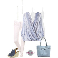 (pre-order) Set 457: Baby Blue Cross Over (includes top, tank & earrings)