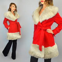 vtg 60's bright red WOOL + FAUX FUR belted wrap coat, small-large
