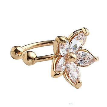 Basket Hill Watches and Gifts Gold Tone, CZ Flower Cuff Earring (1)-Adjustable