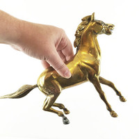 Vintage Brass Horse Sculpture / Equestrian Figurine / Statement Piece / Glam Gold Home Accent / Hollywood Regency / Chic Aged Metal Figure