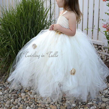 Flower Girl Dress Ivory Tower Tulle Flower Girl Dress Size 5 - 6