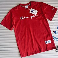 CHAMPION Classic C Letter Couples Wild Embroidery Short Sleeve T-Shirt F0445-1 Red(White Embrodiery Logo)