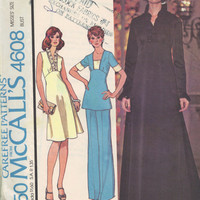 McCall's 4608 Sewing Pattern 70s Gown Cocktail Dress Tunic Top Pants Ruffle Neckline Long Short Sleeves High Waist Bust 34 Uncut