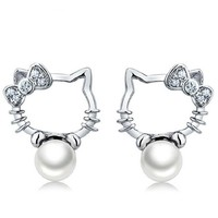 Hello Ketty Pearl Ear Stud Earring < FREE SHIPPING >