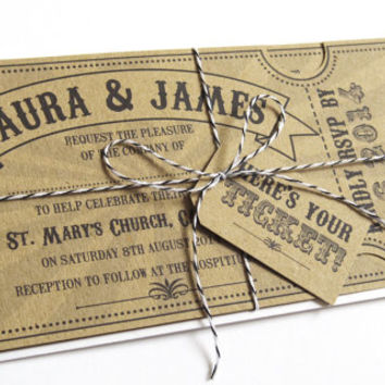 Circus Ticket Wedding Invitation with RSVP card- Fun Fair Carnival Eco Recycled SAMPLE