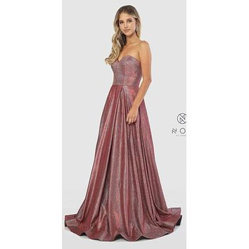 Sweetheart Neck Metallic Strapless Long Prom Gown Red
