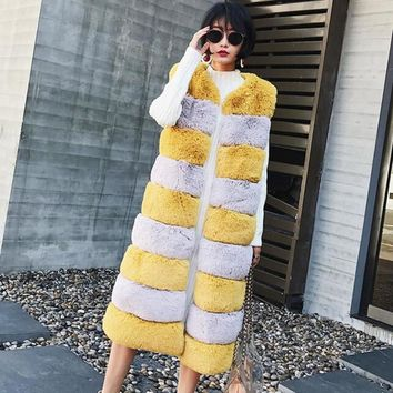 Stylish Contrast Color Striped Hairy Shaggy Faux Fur Vest 2017 Women O Neck Faux Fur Sleeveless Coat Mid Long Outerwear 2 colors