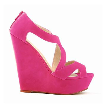 Summer Women High Heel Wedges Pumps Solid Cross-toed Simple Platform Sandals Fish Head