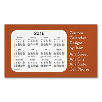 2016 Sienna Business Calendar by Janz Magnet Magnetic Business Cards (Pack Of 25)