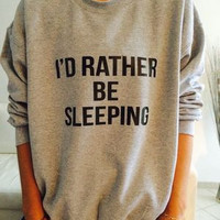 """I'd Rather be Sleeping"" Black and Grey Casual Sweater a12815"