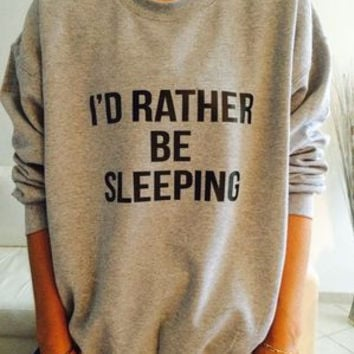 "Simple - ""I'd Rather be Sleeping"" Black and Grey Casual Sweater a12815"