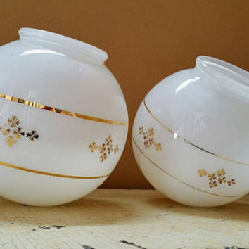 Pair Milk Glass Globe Light Fixture Shades Gold Leaf Atomic Design