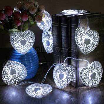 10 LED Cool White Metal Heart Shaped Christmas String Light Festival Party Wedding Decor Indoor/Outdoor Warm White Fairy Light