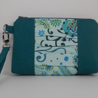 Zipper Top Wristlet with Gathered Panel / Bridesmaid Clutch / iPhone Pouch / Wallet with Detachable Strap / Valori Wells