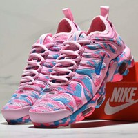 Nike Vapormax Plus New fashion women and men camouflage sport shoe Pink blue
