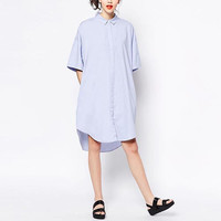 Blue Collared Shirt Dress