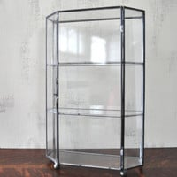 Vintage Glass Curio Cabinet, Glass Display Case, Vintage Shelf, Three Tier Display, Hanging Display Case