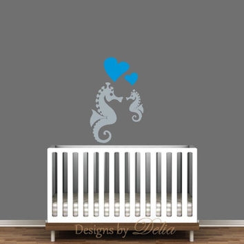 Nursery Wall Decal, Mommy or Daddy Seahorse with Baby Seahorse
