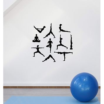 Vinyl Wall Decal Yoga Poses Women Meditation Room Art Interior Stickers Mural (ig5916)